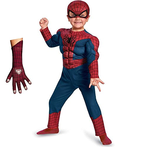 Marvel Little Boys' Amazing Spiderman 2 Deluxe Costume - Muscles Gloves - 3T/4T (Deluxe Spiderman 2 Kids Costume Gloves)