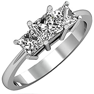 IGI CERTIFIED 1.01 Carat (ctw) 14K White Gold Princess Cut Diamond Bridal 3 Stone Engagement Ring 1 CT from DazzlingRock
