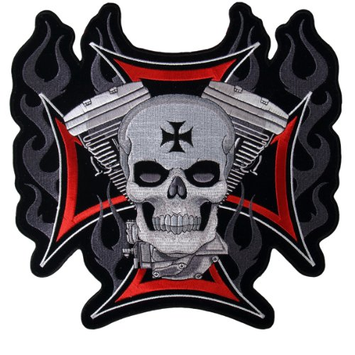 Hot Leathers Cross, Motor And Skull Embroidered Patch (4