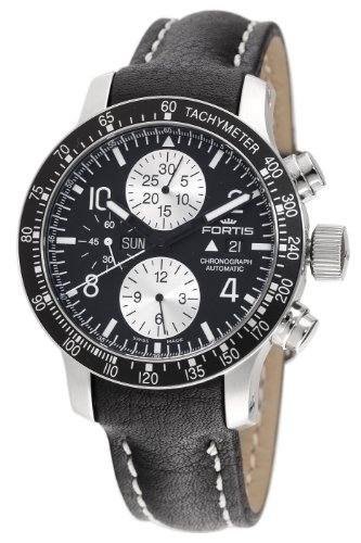 Fortis Men's 665.10.11L B-42 Stratoliner Automatic Chronograph Black Dial Watch