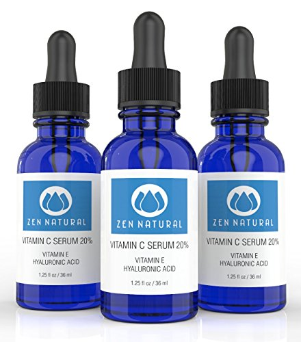 Zen Natural Vitamin C Serum 20% for Face and Skin - With Botanical Hyaluronic Acid and Vitamin E + FREE Bonus E-book Guide on Skin Care & Anti Aging. + Organic Jojoba Oil - 1.25 fl oz