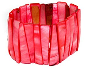 4.5cm Wide Shell Stick Metallic Coloured Stretch Bracelet- Coral