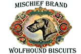 Irish Wolfhound Mischief Brand Collectible Biscuit Tin with Biscuits