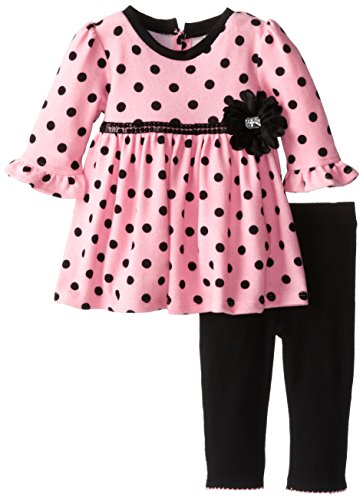 Youngland Baby-Girls Infant Polka Dot Brushed Knit Dress And Legging, Pink/Black, 12 Months