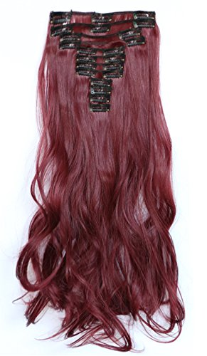 SWACC Straight/Curly Full Head 12 Separate Pieces Heat Resistance Synthetic Hair Clip in hair Extensions (20