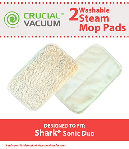 2 Hard Floor Mop Pads Fit Shark Sonic Duo Carpet & Hard Floor Cleaners, Designed & Engineered By Crucial Vacuum