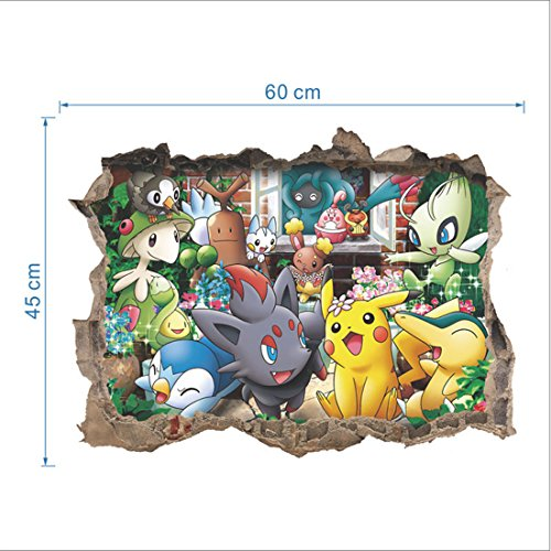 Pokemon Pikachu Pocket Monsters In the Wall 3D Stickers Bedroom Playroom Decor
