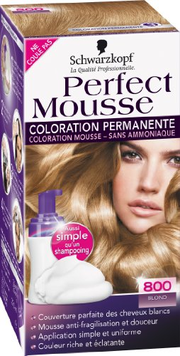 schwarzkopf perfect mousse coloration permanente blond 800 - Coloration Sans Ammoniaque Schwarzkopf