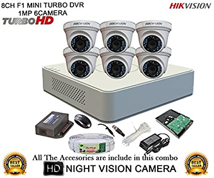 Hikvision-DS-7108HGHI-F1-Mini-8CH-Dvr,-6(DS-2CE56COT-IR)-Dome,-1(DS-2CE16COT-IR)-Bullet-Camera-(With-Mouse,2TB-HDD,-Bnc&Dc-Connectors,Power-Supply,Cable)