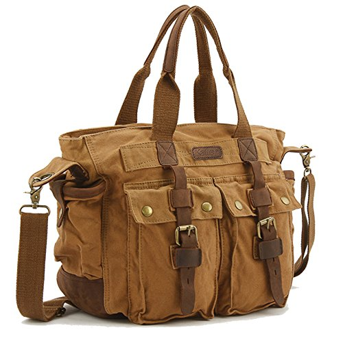 Kattee Unisex Cow Leather Trim Canvas School Travel Crossbody Shoulder Bag Handbag