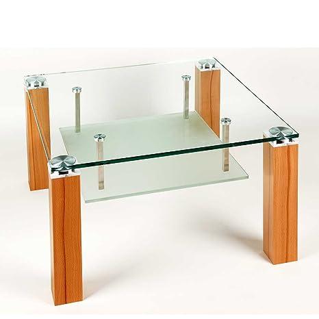 Couchtisch aus Glas Kernbuche furniert Breite 110 cm Höhe 65 cm Tiefe 65 cm Rechteckige Tischform Pharao24