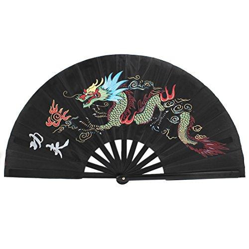 uxcell Plastic Chinese Kungfu Dragon Folding Dancing Exercise Hand Fan Black