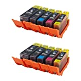10 x Canon Compatible PGI525 / CLI526 Ink Cartridges - COMPLETE WITH ELECTRONIC CHIP ATTACHED - 2 Full Sets of Canon Compatible Cartridges Including 2 each of PGI 525BK Large Black (4529B001), CLI 526BK Photo Black (4540B001), CLI 526C Cyan (4541B001), C