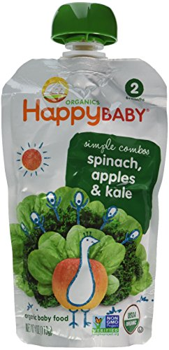 HappyBaby Organics Organic Baby Food Simple Combos 2 Spinach, Apples & Kale - 8 CT - 1