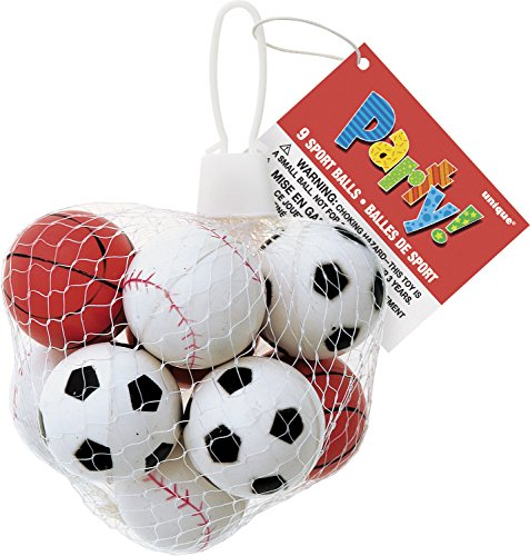 Rubber Sports Ball Party Favors, Assorted 9ct