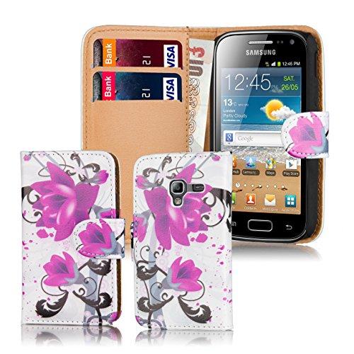 32nd Portafoglio disegno PU Pelle Custodia Protettiva Case Cover per Samsung Galaxy Ace 2 i8160 - Purple Rose