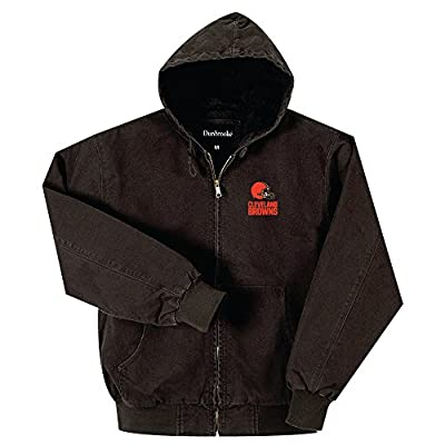 NFL Cleveland Browns Cumberland Canvas Quilt Lined Hooded Jacket, Bark, XX-Large