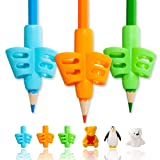 Pencil Grips,ANERZA Pencil Grips for Kids Handwriting,Writing Aid Grip for Preschoolers,Silicone Ergonomic Writing Tool for Children,Adults or Special Needs Lefty or Righty (6pcs) (Color: Animal Erasers)