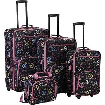 Rockland Luggage 4 Piece Expandable Luggage Set (Multi Color Peace)