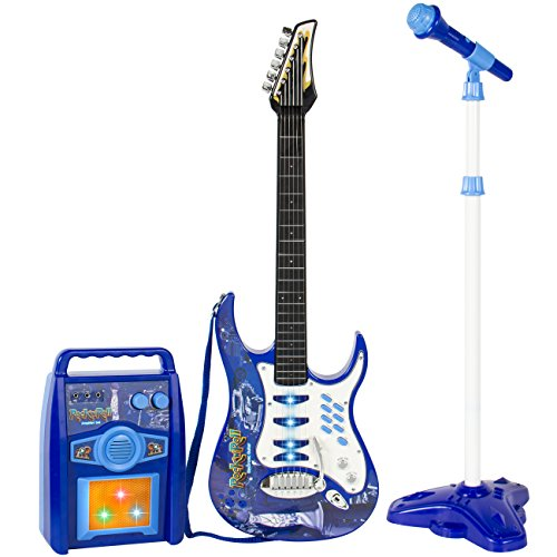 Best-Choice-Products-Kids-Electric-Guitar-Play-Set-W-MP3-Player-Microphone-Amp-Children-Musical-Play-Set-Blue