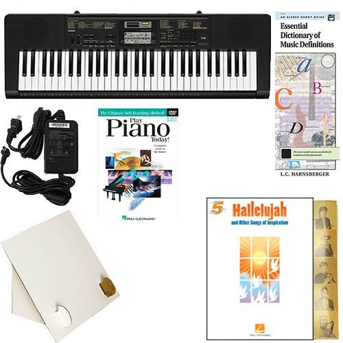 Homeschool Music - Learn to Play the Piano Pack (Hallelujah Songs of Inspiration Bundle) - Includes Casio CTK 2400 Keyboard w/Adapter, learn 2 Play DVD/Book, Books & All Inclusive Learning Essentials (Free Range Homeschool compare prices)