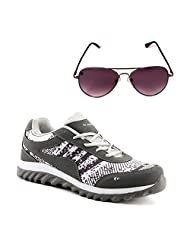 Elligator 1504 Metro Stylish Gray &White Sport Shoes With Aviator Sunglass For Men's