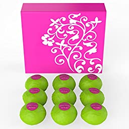 NEW - Bath Bomb Gift Set with 9 Extra Large 6.1oz Bath Bombs Made In USA with Real Essential Oils