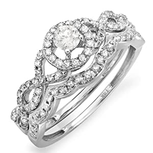 0.60 Carat (ctw) 14k White Gold Round Diamond Ladies Halo Style Bridal Engagement Ring Matching Band Set (Size 8.5)