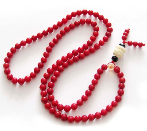 108 Small Red Coral Beads Buddhist Prayer Rosary Japa Mala Necklace