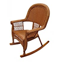 39 inch Honey Brown Resin Wicker Outdoor Patio Rocking Chair