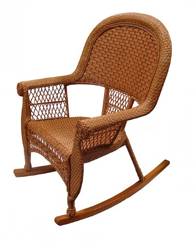 "39"" Honey Brown Resin Wicker Outdoor Patio Rocking Chair"