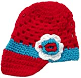LadyMYP Handmade Knitted cap Baby cap Childrens hat Hats 100 Wool red light blue Hat with further Flower