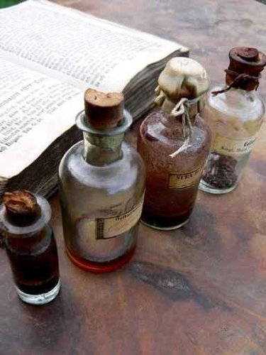 Content Wall Decals Old Medicine Bottles - 18 Inches X 14 Inches - Peel And Stick Removable Graphic front-774119