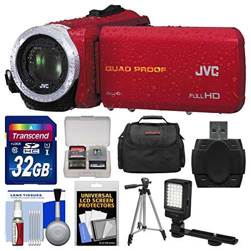 Jvc Everio Gz-R10 Quad Proof Full Hd Digital Video Camera Camcorder (Red) With 32Gb Card + Case + Led Light + Tripod + Kit
