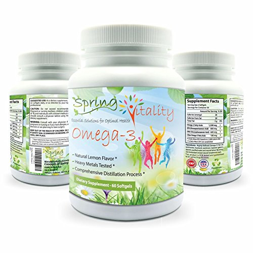 Spring Vitality Omega 3 Supplement for Kids, Teens, and Adults. Triple Strength with EPA(800mg) and DHA(600mg). 60 Burpless, Lemon Flavored Softgels (Bec Omega compare prices)
