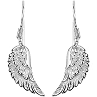 JewelryAffairs Sterling Silver Angel Wing Dangle Earrings