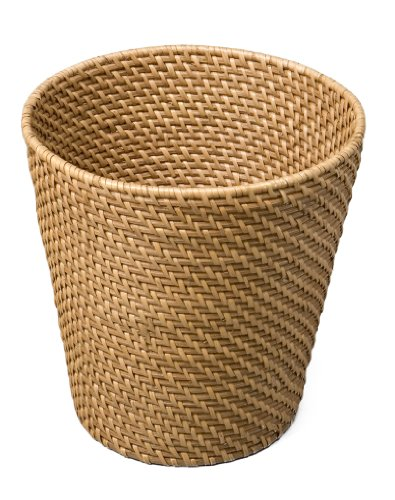 New seville hand woven rattan waste basket home decor trash office room dorm ebay - Wicker trash basket ...