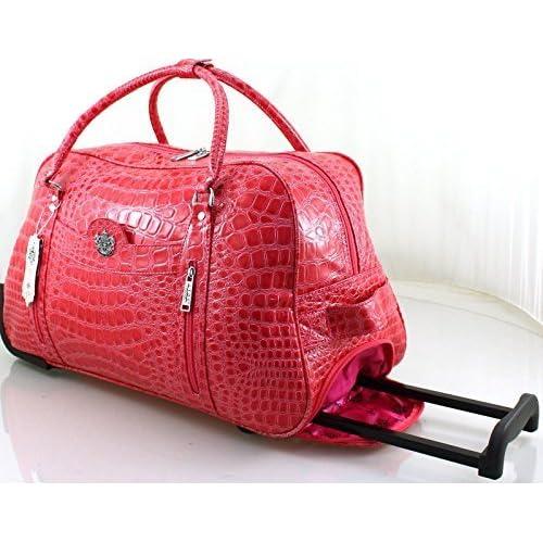 Ladies LYDC Designer Luggage Mock Croc Wheeled Travel Holdall Cabin Trolley Case Bag