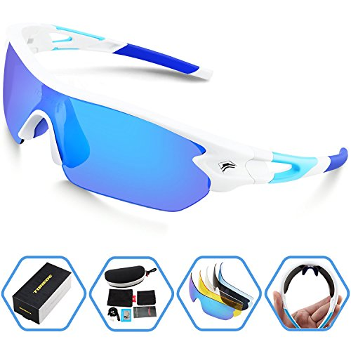 Torege Polarized Sports Sunglasses With 5 Interchangeable Lenes for Men Women Cycling Running Driving Fishing Golf Baseball Glasses TR002 (White&Ice Blue lens) (Woman Fishing compare prices)