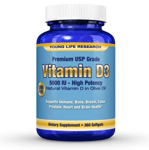 Vitamin D3 5000 Iu (Cholecalciferol) - In Gmo Free Organic Olive Oil - 360 Softgels. **Free Bonuses** High Potency Premium Usp Grade Vit D. ** 100% Guaranteed **