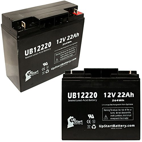 2X Pack - Bladez Electric Scooter: Travelmate Battery - Replacement Ub12220 Universal Sealed Lead Acid Battery (12V, 22Ah, 22000Mah, T4 Terminal, Agm, Sla)