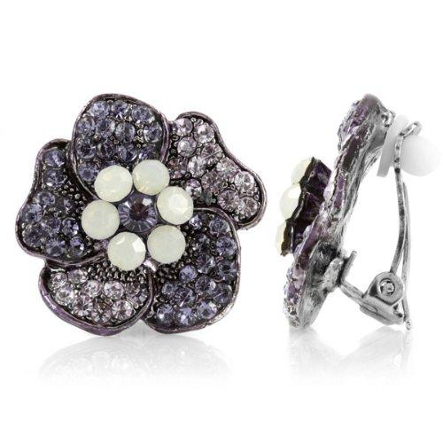 Padma's Flower Clip On Earrings - Purple - Final Sale