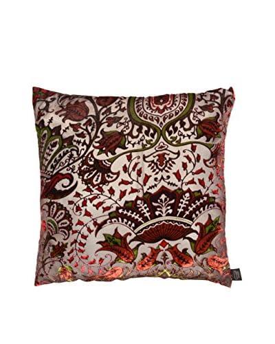 Aviva Stanoff Multi Floral Printed Velvet Pillow, Burgundy