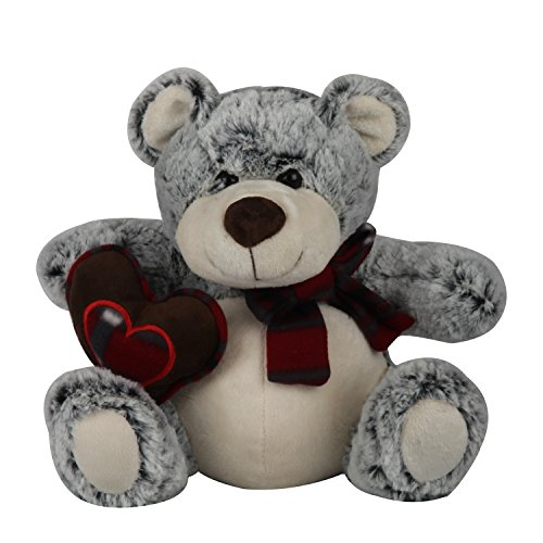 EduToys-Soft-Teddy-Bear-with-Heart-and-Muffler-Grey-Colourful-Cute-Gift