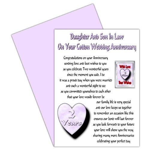 Daughter & Son In Law 2nd Wedding Anniversary Card With Removable Magnet Gift - Cotton Anniversary
