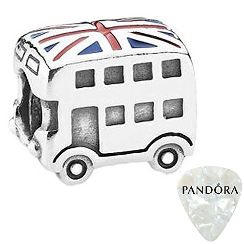London Bus, Blue & Red Enamel Charm, Two Piece Bundle, with Pandora Clasp Opener