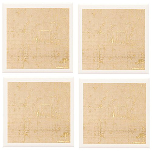 Hand Made, Artist Designed, Coasters [Set Of 4] - Gold On Natural Background Design From Our Modern Collection - A Stylish And Chic Way To Add A Unique Special Personal Touch To Your Decor - Great For A Gift - Crafted By Hand Of Ceramic Tile, Hand Made Pa front-267336