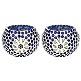 EarthenMetal Handcrafted Blue Colored Polka Design Tealight Holder (Candle Light Holder)- Set Of 2 - B018MB8HFI