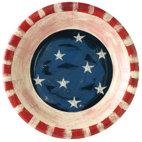 Ideal Home Range PK76012 8 Count Round Paper Plates, 8-Inch, Stars and Stripes