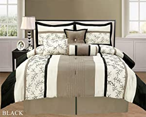 7 piece bella black taupe white faux silk for Black white taupe bedroom